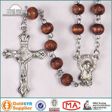 Rose Wood Rosary With Carved Beads