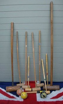 ANTIQUE CROQUET MALLETS