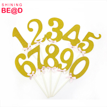 Big Gold Glitter Numbers 0-9 Acrylic Cake Toppers For Anniversary Birthday Party Decorations
