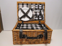 Great wicker Picnic Basket With Cups, Plates, Utensils For 2 person