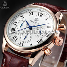 ORKINA Mens Luxury Chronograph Quartz Watch White Dial Gold Frame