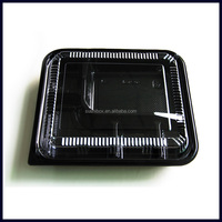 wholesale black bento box with dividers PS plastic disposable