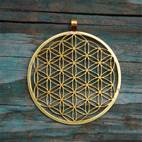 Yiwu Aceon Stainless Steel Gold Plated Laser Cut Hollow Design Sacred Geometry Pendant