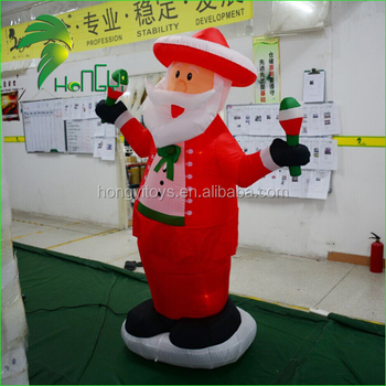 Large Funny LED Yard Christmas Movable Santa Claus Decoration Inflatable Model