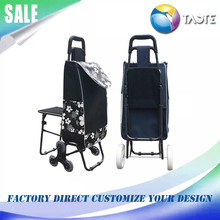 Hot selling China supplier supermarket smart folding shopping trolley replacement bag with chair