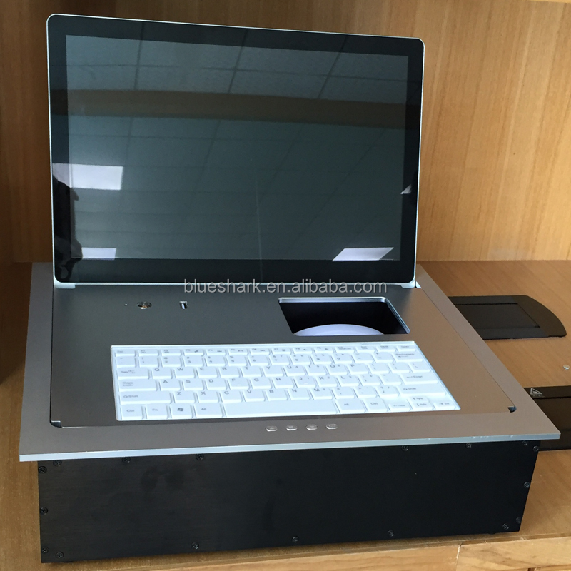Desktop Flip Up Motorized LCD Monitor Lift system with mouse and keyboard for confrence table
