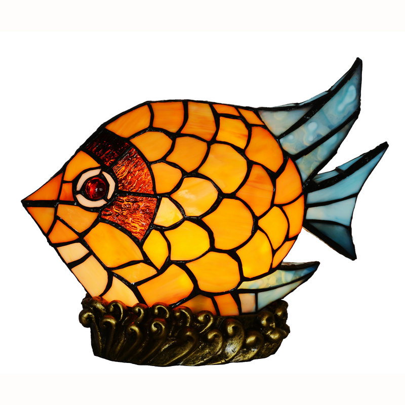Stained Glass Tiffany Style Fish Night Light Table Desk Lamp mediterranean night light