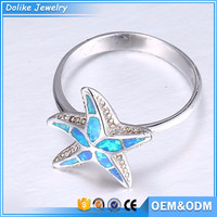 Silver star ring jewelry,opal jewelry ring