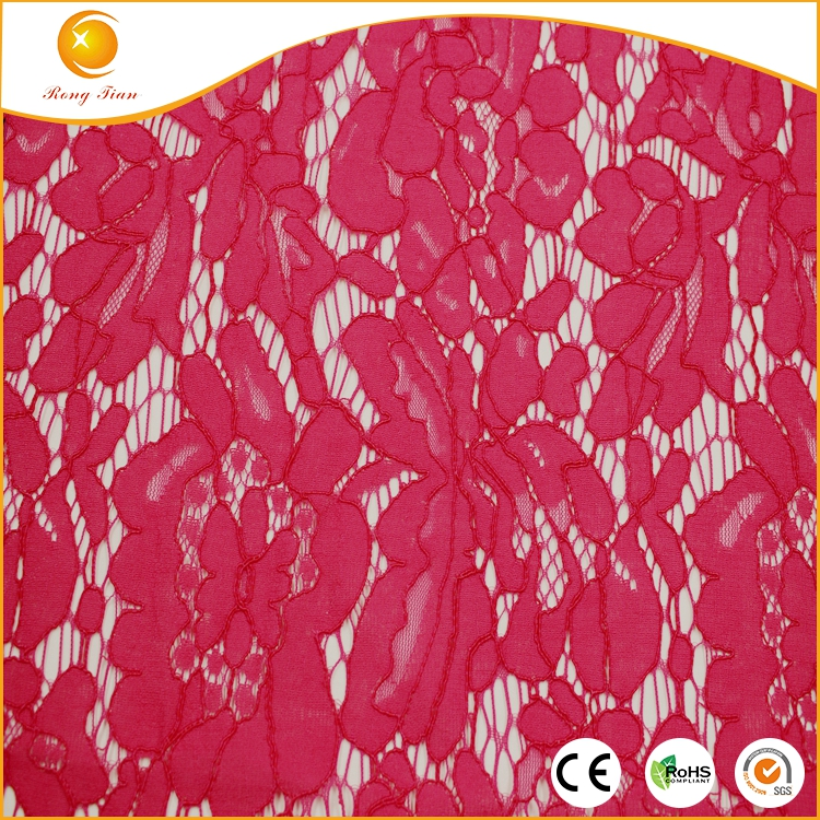2017 red 65% cotton 35% nylon african wedding lace fabric