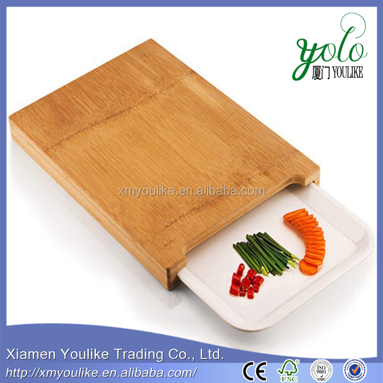 Whole Thick Bamboo Chopping Block Rolling Plate Board With Fruit Dish Plate