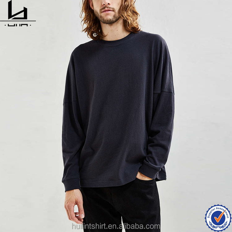 High quality drop shoulder softextile mens loose long sleeve mercerized cotton t-shirts