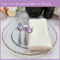 Wholesale Wedding Popular Big Rimmed Clear Glass Gold And Silver Beaded Charger Plates