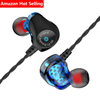 Sport deep bass stereo dual driver dynamic wired ear hook in ear wired earbuds