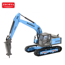 zhorya 1:50 scale diecast metal rock jack hammer drill excavator toy for kids