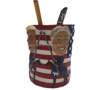 personalized handmade color painted poly resin trump pen holder/pencil holder for sale