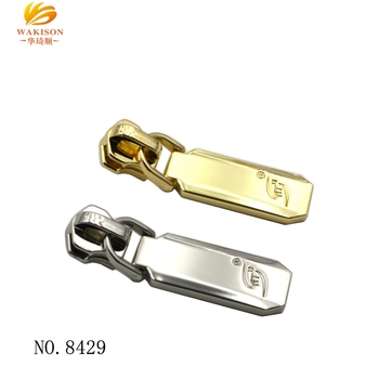 Bag trims OEM customized metal zipper puller/ zipper slider with logo