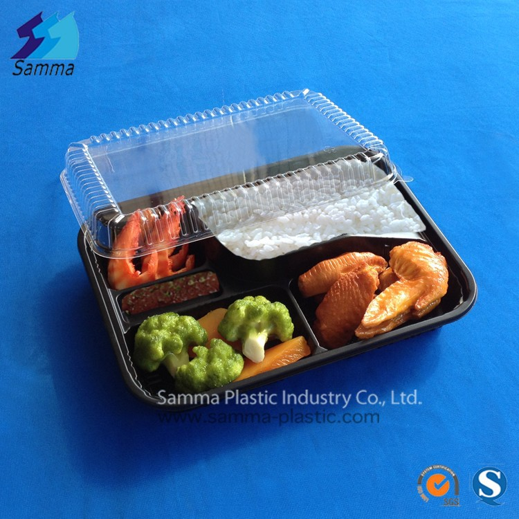 5 compartments blister plastic food packaging tray black