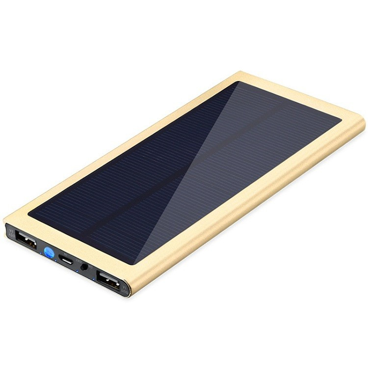 High quality aluminium casing super slim dual usb solar powerbank 8000mah solar charger for <strong>mobile</strong> phone