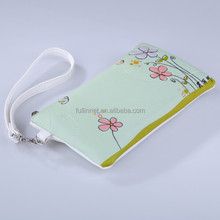 Hot Lady New Popular Green Flower Printed Clutch Bag/Cheap Tourist Souvenir PU leather Printed lady wallet