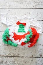 Children christmas gifts for little baby pettiskirt and long sleeve shirt with christmas tree baby outfit