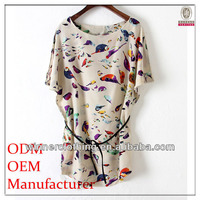 famous name brand garments design ladies' loose fit chiffon birds printed cheap blouses