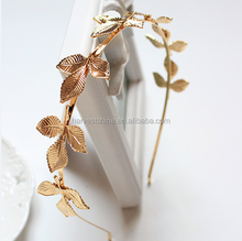 Elegant thin metal leaves headbands,plain golden color headbands for women
