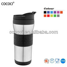 Stainless steel vacuum travel thermal fashion design mug with silicone coat