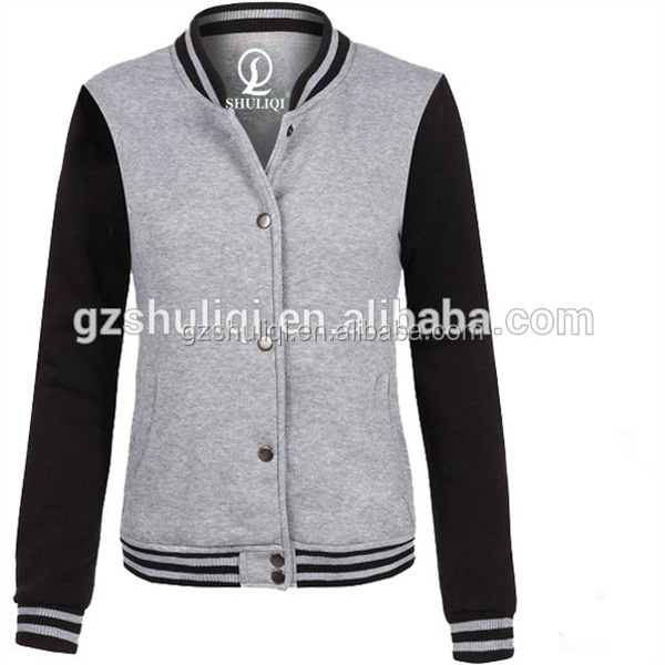 Women Baseball Uniform Coats and Jackets Hoodie With Button Closure