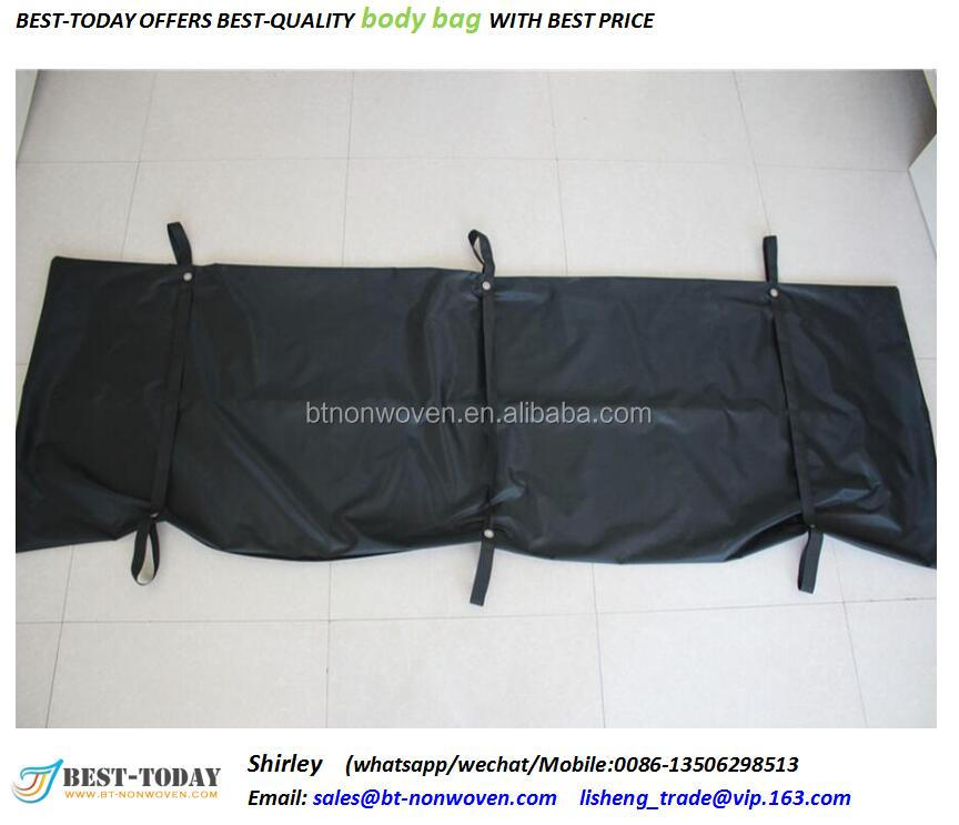 black color PVC mortuary body bag with six handles