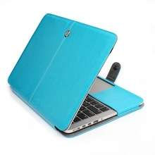 Blue color premium quality protective PU leather carry case cover with magnetic snap closure for macbook case air pro retina