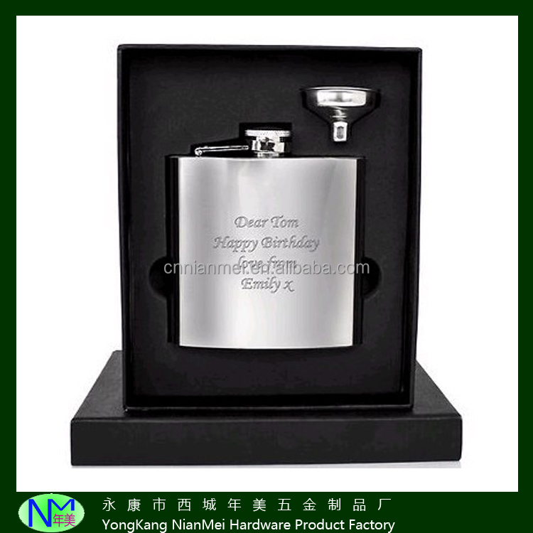 Ex factory price matt whiskey 201 stainless steel hip flask and funnel sets with laser LOGO
