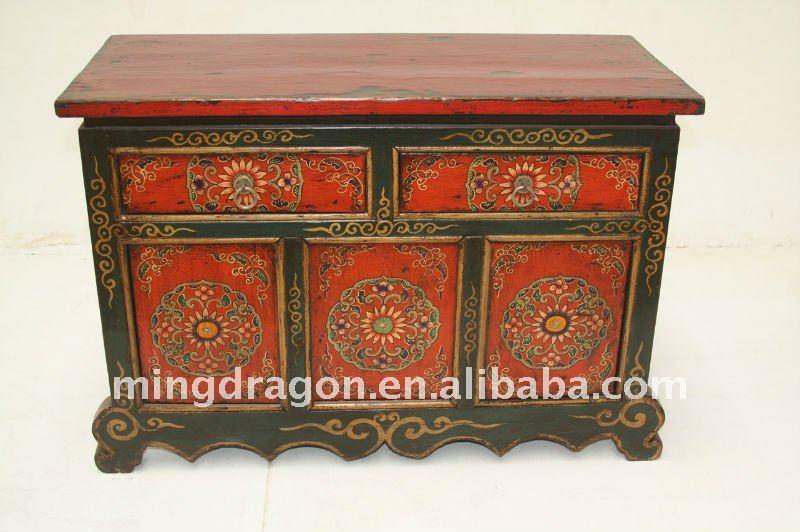 Muebles pintados a mano de estilo tibetano armarios de - Armarios pintados a mano ...