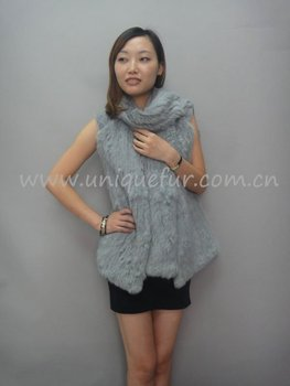 Knitting rabbit fur gilet with the CHIC style (MC-0971)