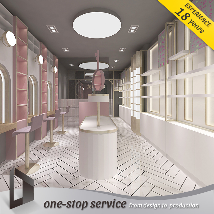 new style cosmetic showroom decoration makeup counter salon showcase cosmetic kiosk furniture