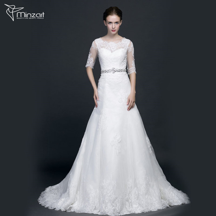 Minzart WD-DB0007 Hot sale China wholesale off-shoulder flower sash wedding dress