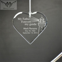 Beveled Glass Heart Engraved Ornament for Guide Father Holiday Gifts