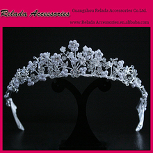 Factory Wholesale Sparking bridal tiara wedding hair crown in bulk Silver plating metal hair ornaments tiaras bridal