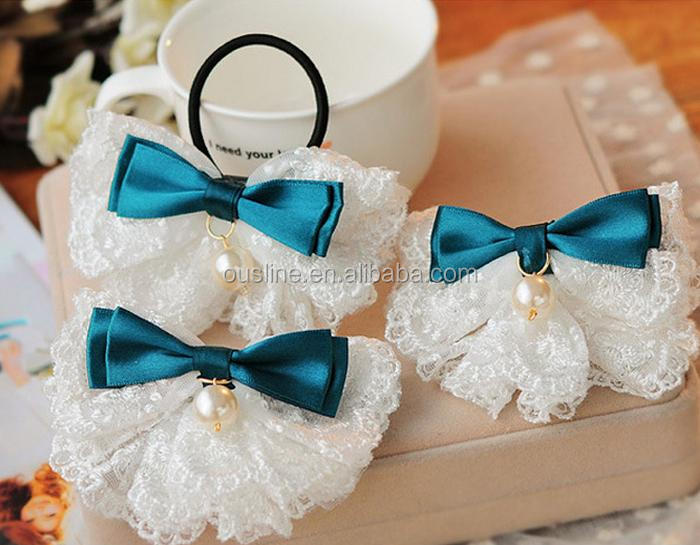 lace fabric bow hairband with pearl , <strong>hair</strong> <strong>accessories</strong> for girls