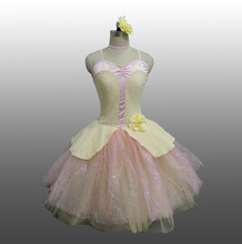 MBQ1060 Adult child pink shiny net cream lace stage competition performance ruffle ballet dance tutu dress costume