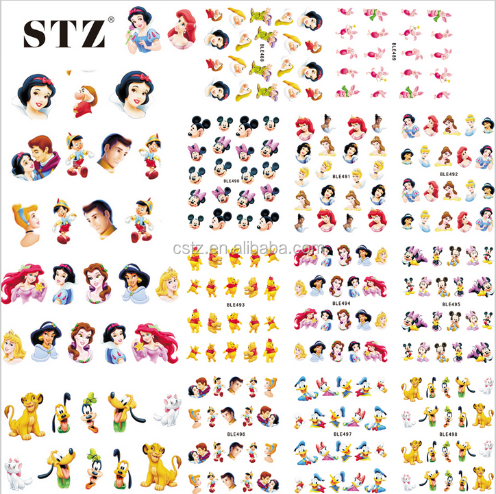 Wholesale individualPacking 11 styles China BLE HOT Cartoon Cute Water Transfer Stickers Nail Art Foils Polish Full Cover Decals