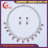 Superior Quality Cubic Zircon Ruby Pearl Emerald Necklace Set