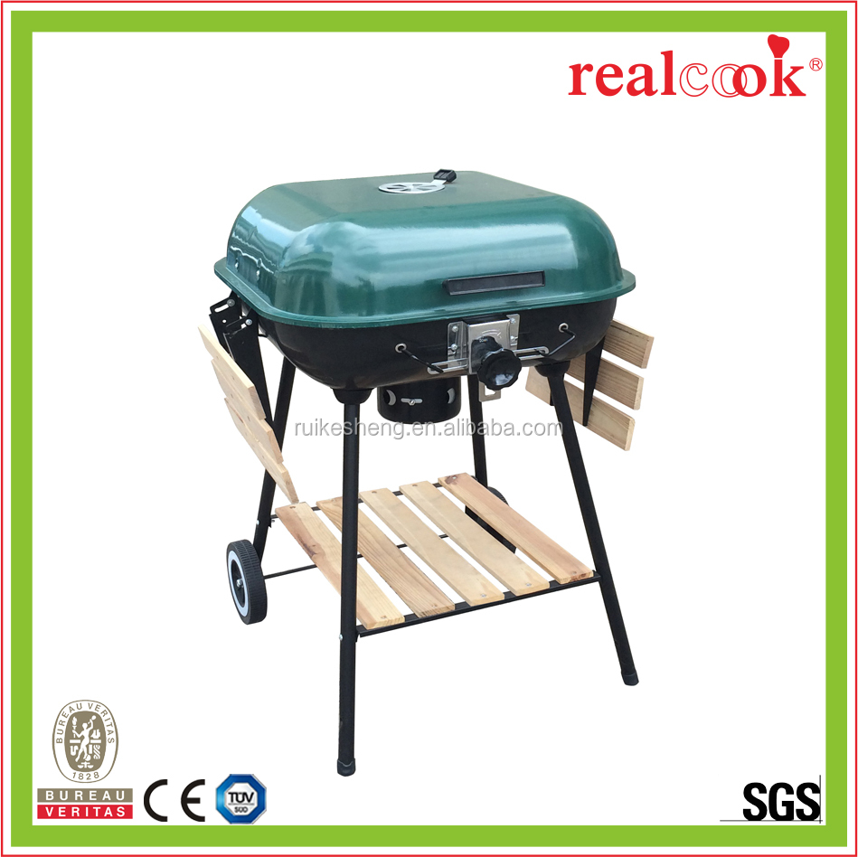 Fashion model green square charcoal bbq grill with foldable shelf