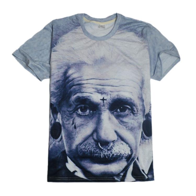 Women Men Casual T-Shirt 3D Print Einstein Summer Short Sleeve Oversized Tee Top