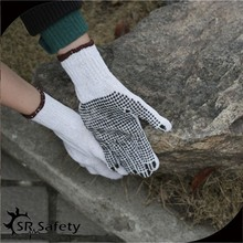 SRSafety white cotton gloves with pvc dots coated on one side