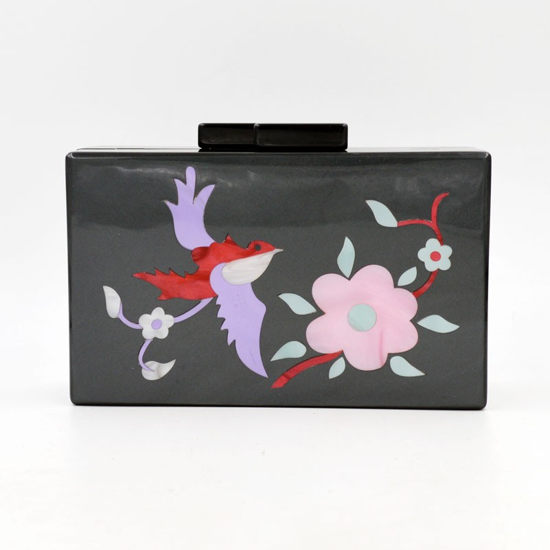 2016 New arrival acrylic clutches with Elegant flower and beautiful birds printed Chinese style black handbag