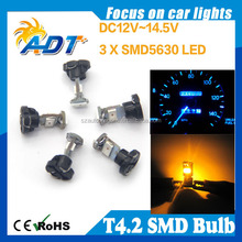 T4.2 Neo Wedge 10mm 12V 3 SMD LED Light Bulbs Dashboard Brightest White
