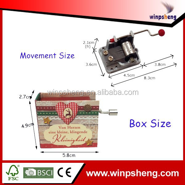 Wholesale Music Boxes Wooden/Cube Mini Music Box