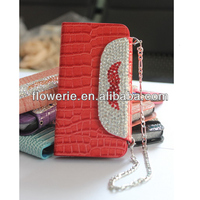 FL2740 2013 Guangzhou hot selling crocodile mustache diamond wallet leather flip case for iphone 5 5G