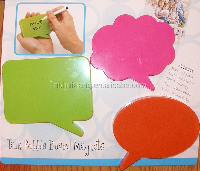 Three plastic ABS square, circular, clouds form magnetic erasable message memo board