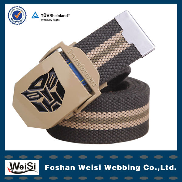 Wholesale Army Green Stripe Custom Elastic Camel Buckle Canvas Nylon Belt
